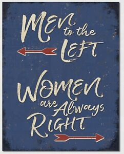 Men To The Left Women Are Always Right Metal Tin Sign Home Bar Wall Decor #2342 $14.95