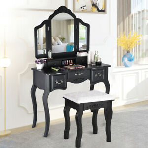 Vanity Beauty Station Makeup Table And Wooden Stool 3 Mirrors And 5 Drawers Sets
