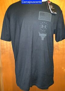 Men's Under Armour Project Rock Bull Freedom Black T Shirt #1360042 Size 2XL $29.98