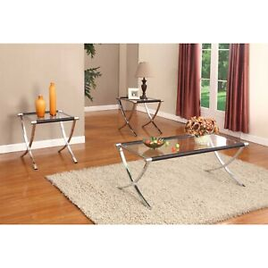 Kings Brand Furniture - 3-Piece Glass Coffee Table & 2 End Tables Occasional Set