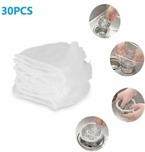 30Pcs Disposable Mesh Sink Strainer Bags for Kitchen and Bathroom Hair Filter US