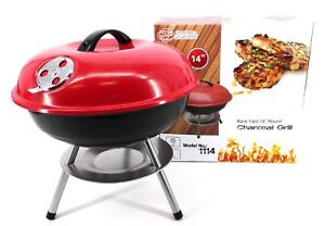 Small Portable Barbecue Cooking Grill Charcoal Chrome Plated,Red, 14 Inches