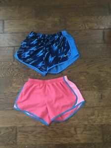 Nike Girls Dri Fit Lined Running Shorts Youth L Pink And Blue Lot Of 2! $14.00