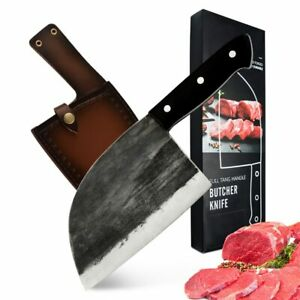 Kitchen Butcher Knife Stainless Steel Chef Knife Tang Handle with Leather Sheath