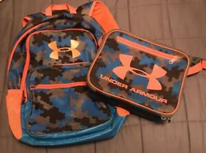 Under Armour Backpack & Lunch Tote Blue Camo Orange Set Used Please See Pics $34.95