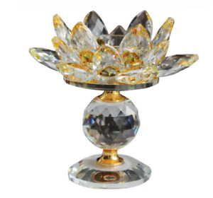 1 x Crystal Lotus Flower Candle Holder Tea lights Holder For Home Yellow