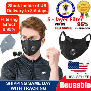 Outdoor Cycling running Sport Mask with carbon Filter with valves black color $9.00