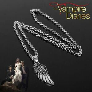 """""""The Vampire Diaries"""" Antique Silver Angle Wing Feather Pendant amp; Chain Set GBP 8.95"""