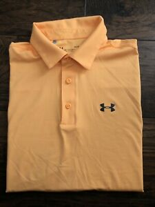 Under Armour Short Sleeve Polo Golf Shirt Loose Heatgear Orange Mens Large L $14.99