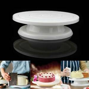 Alloy Round Cake Turntable Rotating Revolving Table Stand Base Baking Decor 28CM