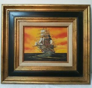 Antique Sailing Ship Oil Painting. Signed Framed. Nautical Maritime Sailing Boat $125.00