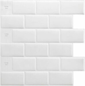 White Subway Backsplash Tiles for Kitchen Peel and Stick, 12