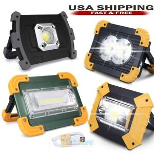 Ultra Bright 100000LM COB LED Work Light Rechargeable Emergency Stand Flood Lamp