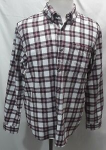 MAGELLAN Outdoors Adventure Gear Men#x27;s Red Plaid L S Flannel Shirt Size Large