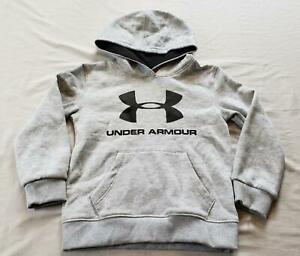 Under Armour Boy's Graphic Logo Hoodie GG8 Grey Size 4 $17.99
