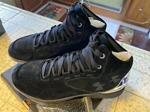 UA Under Armour Curry 1 Lux Mid Suede Basketball Black Shoes 1296617 9 $65.00