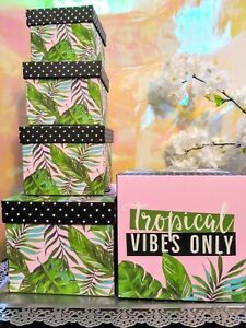 Gift box setgift card tissue paper birthday tropical vibes only boxes 5pcs set