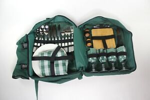 Picnic 4 person Forest Green Canvas Backpack Hiking Camping Portable Gear