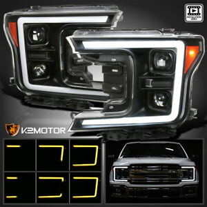 Black For 2018 2020 F150 Switchback LED Sequential Signal Projector Headlights