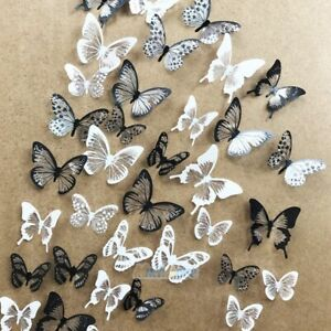 54pcs PVC 3D Crystal Butterfly Wall Stickers Art Decal DIY Home Bedroom Decorate $6.89