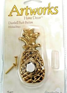 SOLID BRASS Pineapple ARTWORKS Home PUSH BUTTON LIGHTED Doorbell Angelo 76417