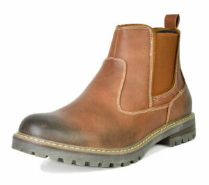 US Men#x27;s Work Boots Slip on Chelsea Shoes Lined Chelsea Plain Toe Ankle Boots