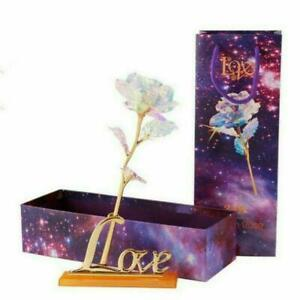 Romantic Galaxy Rose Luminous Flower Valentines Day Lovers Gift With Love Base