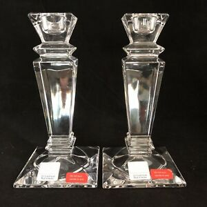 Pair Of Fifth Avenue Austrian Crystal 24% Lead Crystal Candle Sticks 6