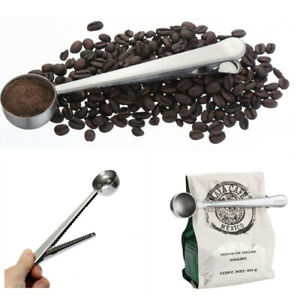 1/2x Coffee Measuring Spoon Stainless Steel Scoop Coffee Tea Baking Sugar w/Clip