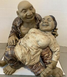 Chinese Large Contemporary Sculpture of Happy Couple Signed $185.00
