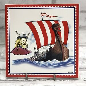 Viking Ship Helmet Trivet Art Tile Plaque Sign Wall Hanging Norway Norwegian
