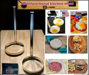 Egg Rings 2pcs Nonstick Handle Round Shaper Pancakes Molds Ring