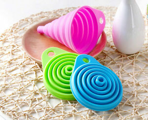 Silicone Gel Practical Foldable Collapsible Style Funnel Hopper Kitchen TooN TUA