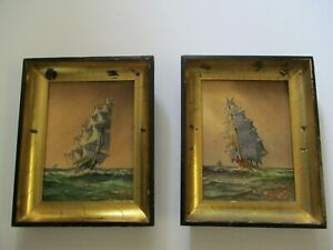 2 ANTIQUE NAUTICAL PAINTING NEW YORK ARTIST AGOSTINO VINCENZI SHIPS SEASCAPE OLD $59.00