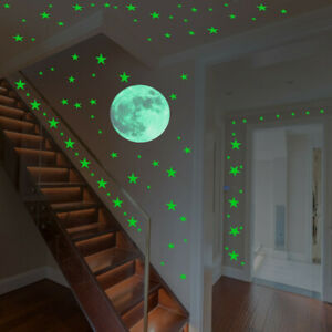 Luminous Stars Moon Fluorescent PVC Wall Stickers Mural Christmas Decoration