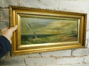 really old PAINTING oil on canvas seascape signed C W Riggott $7.17