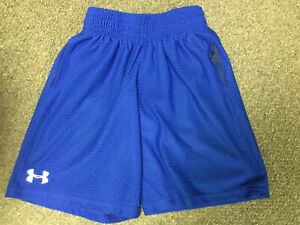 UNDER ARMOUR BOYS MESH SHORTS BLUE YOUTH EXTRA SMALL POCKETS LOOSE HEAT GEAR $2.99