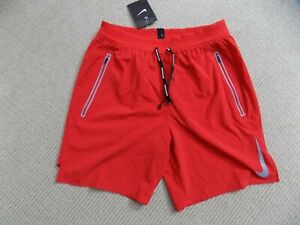 NEW MENS S 2XL NIKE FLEX SWIFT RUNNING SHORTS RED SILVER 2in1 7inch AJ7767 657 $64.99
