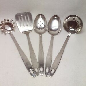 Crate and Barrel 5 piece Utensil Set 18/10 stainless Spoons  Ladle Spatula Pasta