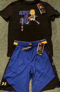 NWT Boys Under Armour YMD Black Blue Yellow Steph Curry SC Shorts Set M $34.99