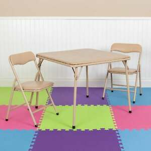 Kids 3 Piece Folding Table and Chair Set - Kids Activity Tan