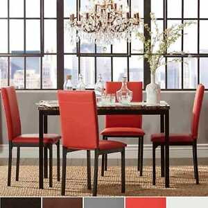 Darcy Faux Marble Top Metal 5-piece Casual Dining Set by
