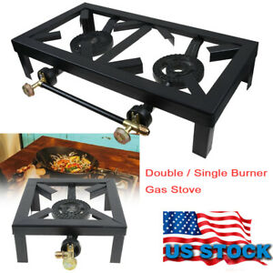 Outdoor Propane Camping Stoves Portable Cast Iron Burner LPG BBQ Cooker Grill