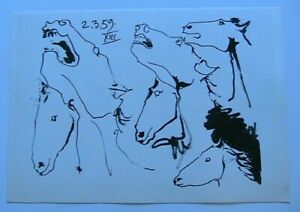 Pablo Picasso Toros Y Toreros 1961 B&W Lithograph 6 Horses Heads Limited Edition $16.00