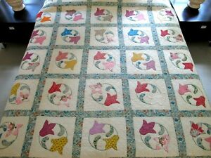 FULL Vintage Feed Sack Hand Quilted Unusual Pattern TULIP CIRCLE Applique Quilt