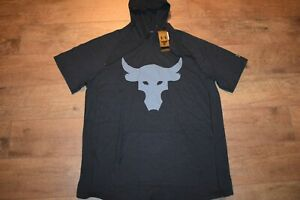 Under Armour Men's Project Rock Charged Cotton S S Hoodie 1525 Size L Black NWT $22.50