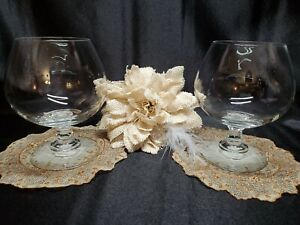 Lenox Crystal Decor Line Clear Crystal Brandy Cognac Sniffer Glasses Set of 2 $27.95