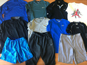 LOT of 11 Men's Size Large Nike & Under Armour Shirt Tops & Shorts $13.50