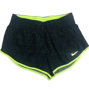 Nike Dri Fit Athletic Running Shorts Women's Size Small S Black Yellow Lined $14.99