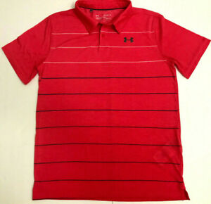 Under Armour Boys Size Youth XL Red Golf Polo Style Short Sleeve Shirt Loose $9.98